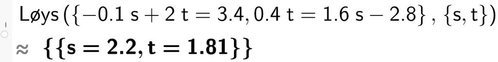 løys minus 0komma 1 s + 2t er lik 3 komma 4 og 0 komma 4 t er lik 1 komma 6 s minus 2 komma 8. CASutklipp.