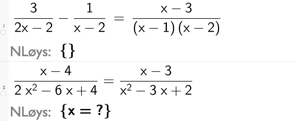 Løys 3 over 2(x minus 1)- 1 over x-2 er lik x minus 3 over x-1 multiplisert med x minus 2.CASutklipp.