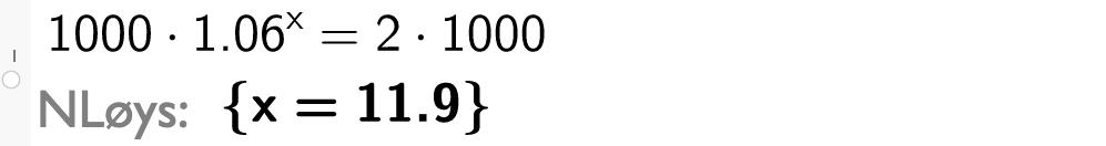 Løsning av likning i CAS. Bilde.