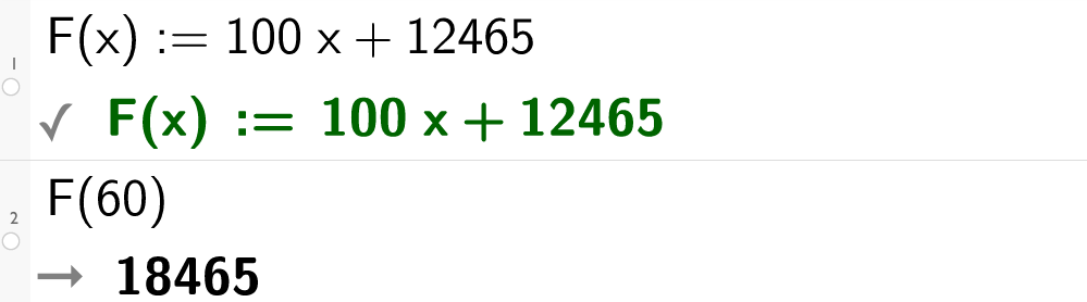 F av x er lik 100 x pluss 12465. CAS.