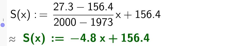 S av x er lik minus 4 komma 8 x pluss 156 komma 4