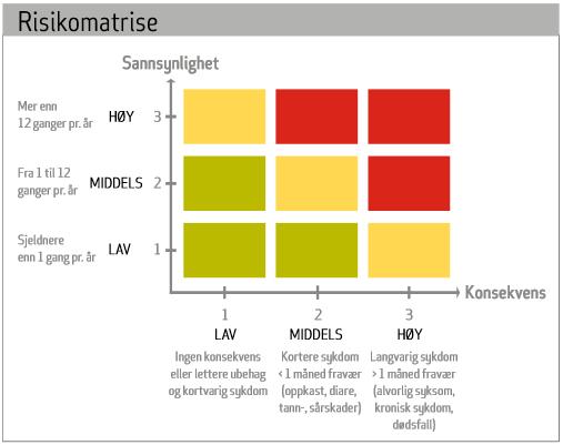 Et eksempel på en risikomatrise. Illustrasjon.