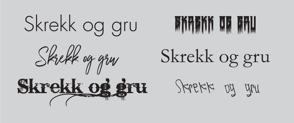 Eksempler på emnebetoning i skrifttyper. Grafisk.