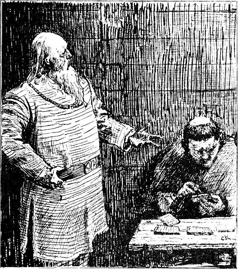 Christian Krohgs tegning av Snorre Strulason i heimskringla. Illustrasjon.