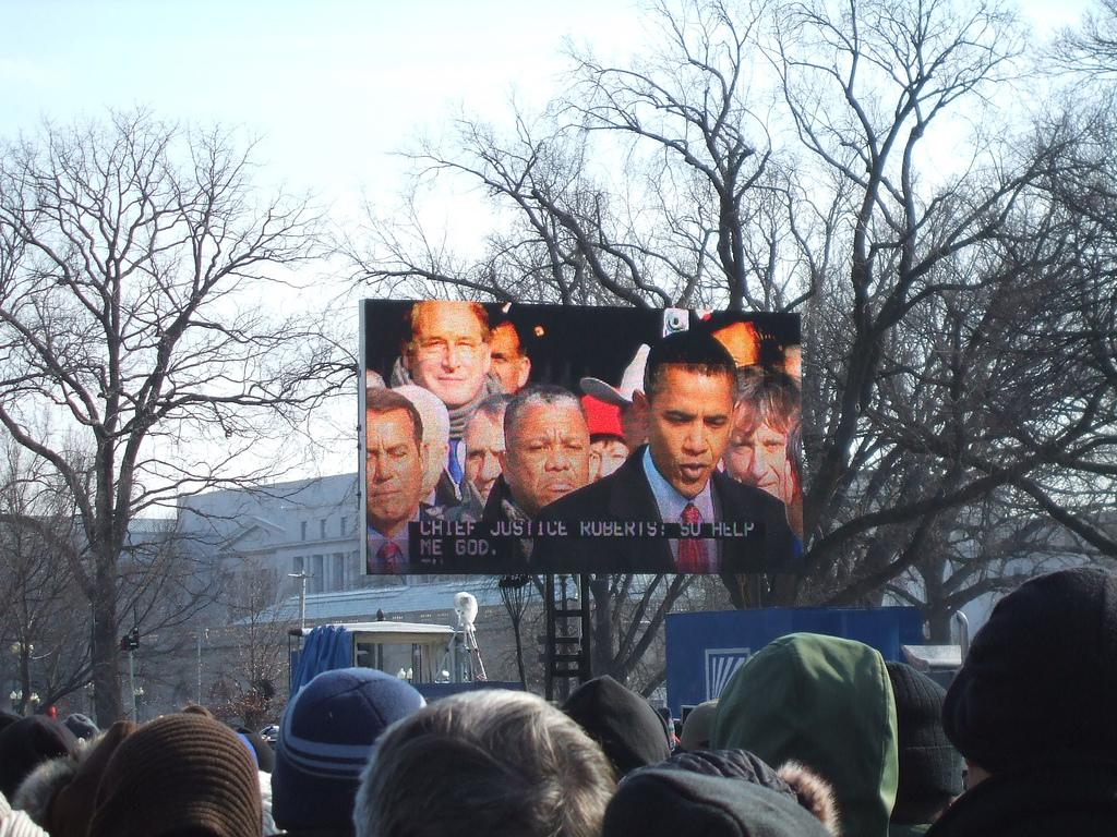 Barack Obama on big screen.photo.