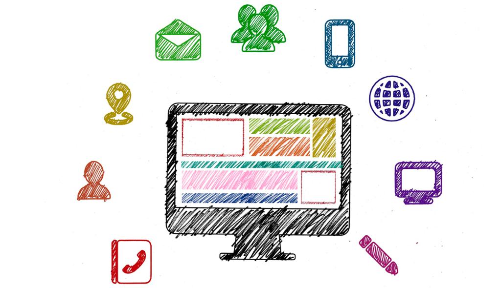 Ikoner av ulike aktiviteter på nett. Illustrasjon.