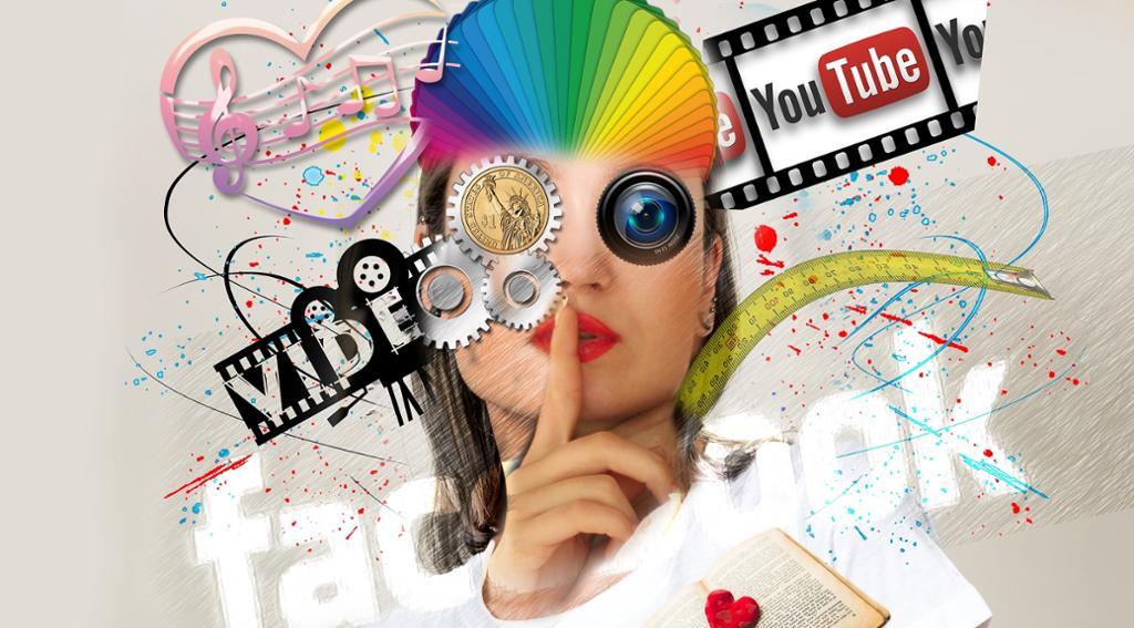 Grafisk fremstilling av kommunikasjon i sosiale medier. Kollasj.