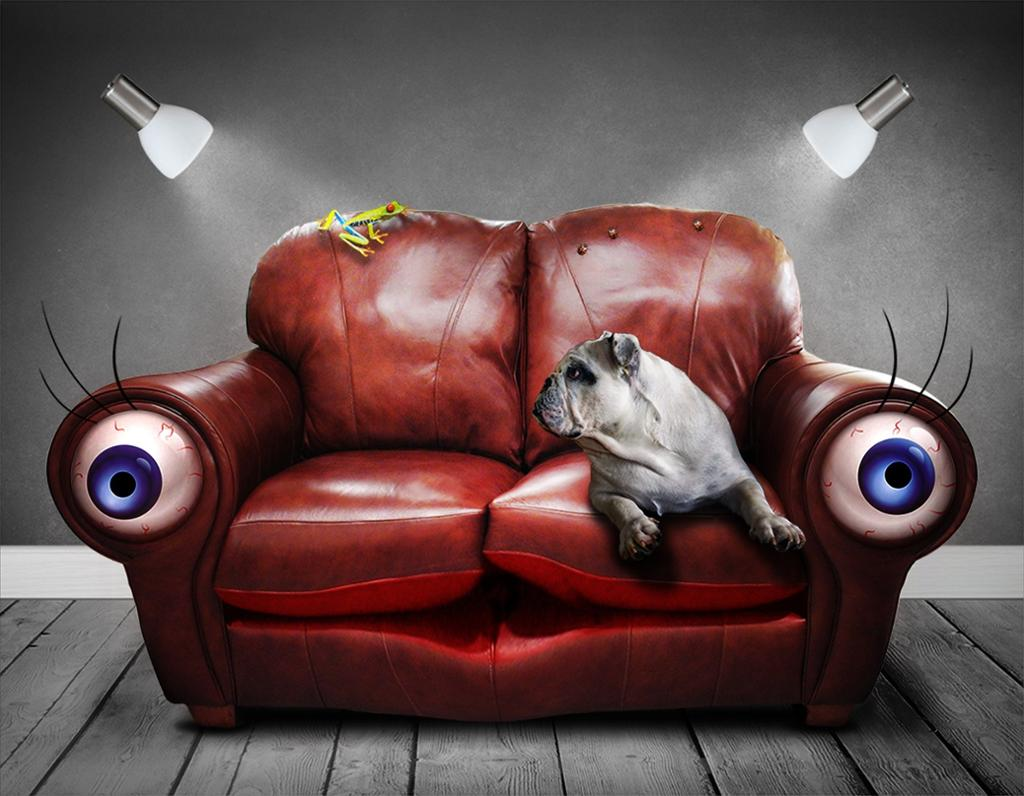Hund i sofa. Illustrasjon.