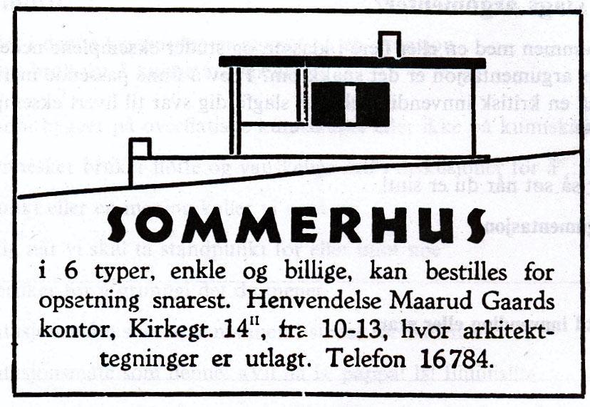 Sommerhus. Annonse.