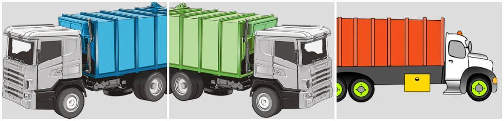 3 søppelbiler i forskjellige farger. illustrasjon.