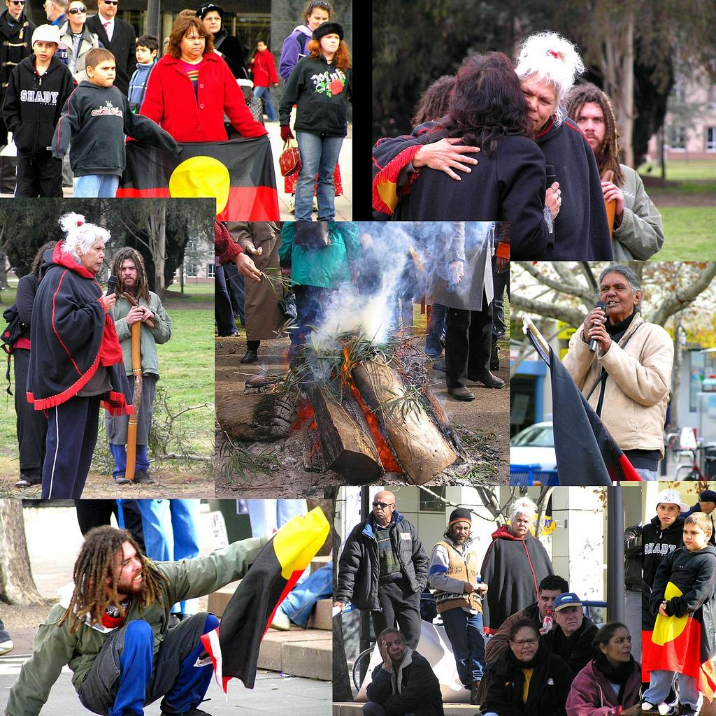 montage of protestors for indegenous rights. photo.