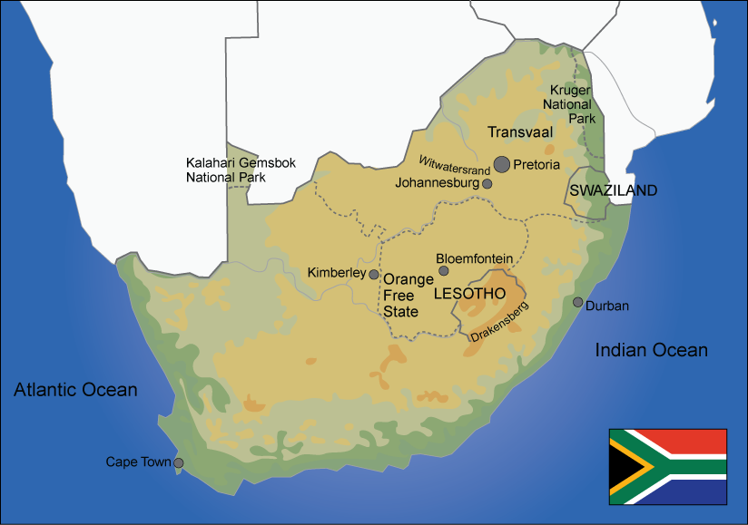Map over South Africa. Illustration.