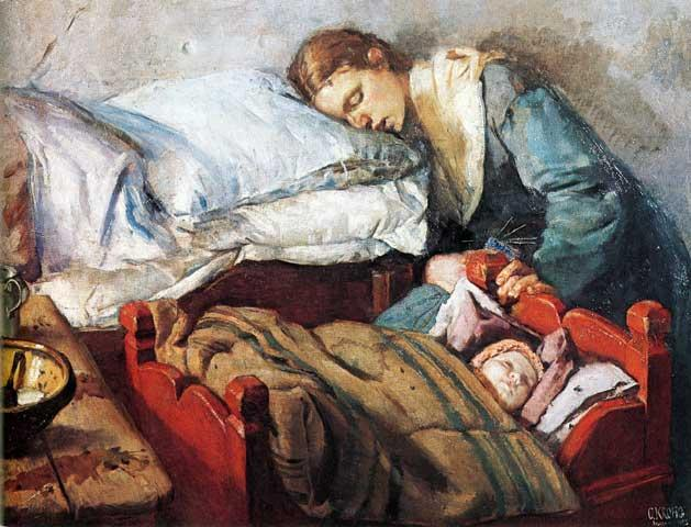 Sovende mor med barn i vugge. Maleri.