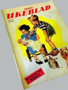 Forsiden på Norsk ukeblad med bilde av ei jente med dukke og en gutt som leker doktor. Faksimile.