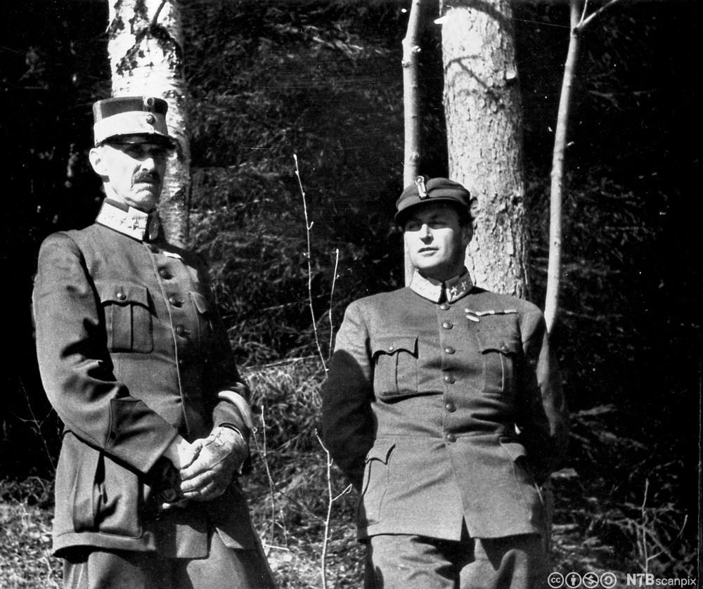 Kongen og kronprinsen søker dekningu nder et flyangrep på i Molde