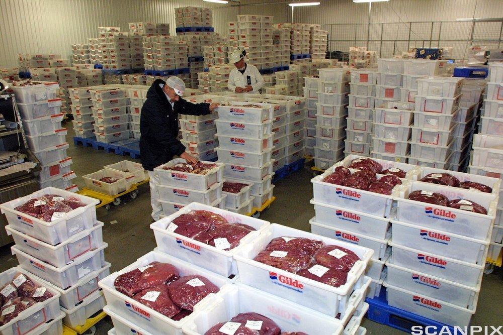 Kasser med ferske råvarer på lager.foto.