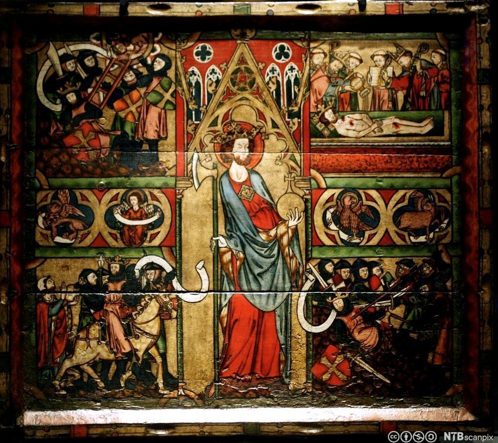 Olavsfrontalet fra første halvdel av 1300-tallet viser historier fra tiden rundt slaget på Stiklestad i 1030. Fotografi.