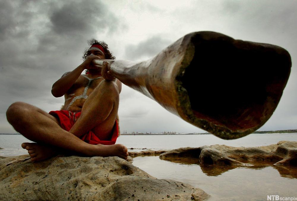 Aboriginer og artist Les Saxby spiller didgeridoo. Foto.