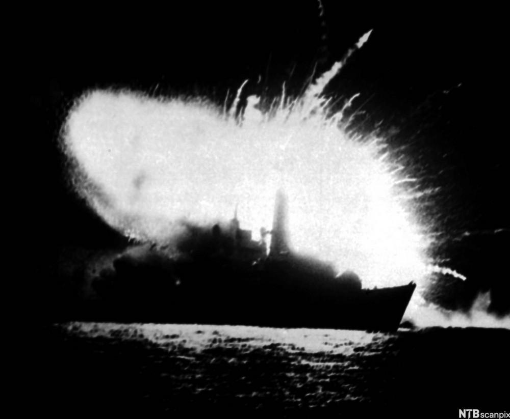 HMS Antelope Explodes