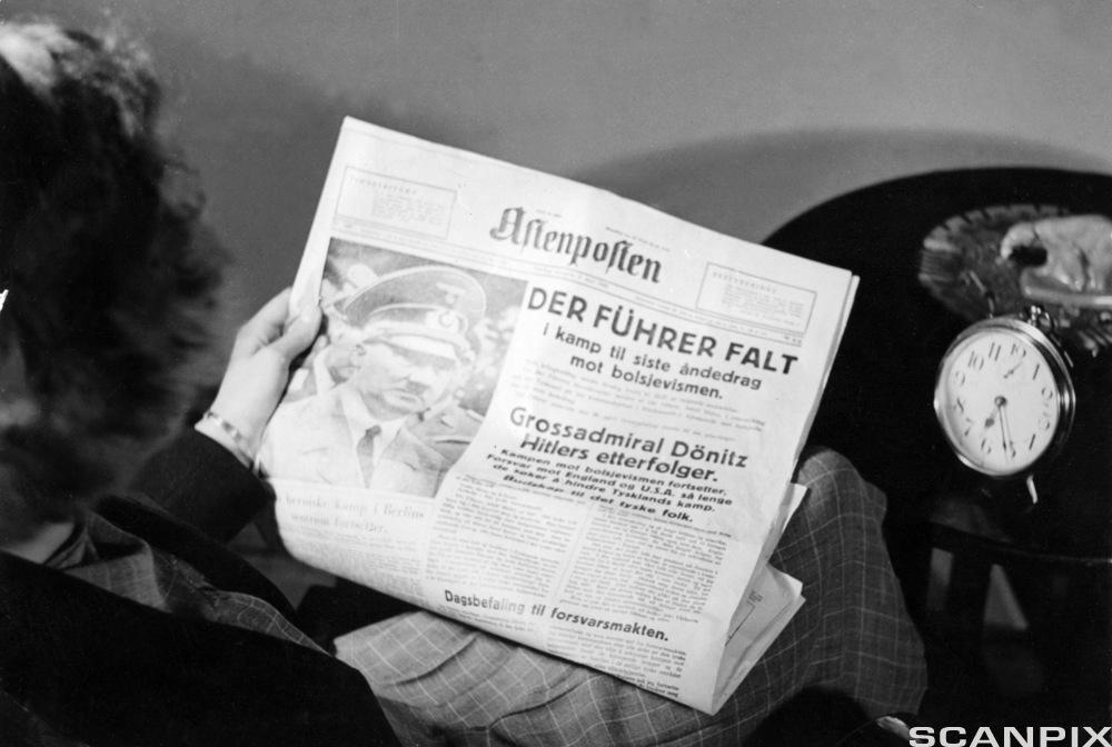 Under 2.verdenskrig ga Aftenposten sin støtte til Nasjonal samling og Quisling-regjeringen. Adolf Hitler begikk selvmord 30.apri