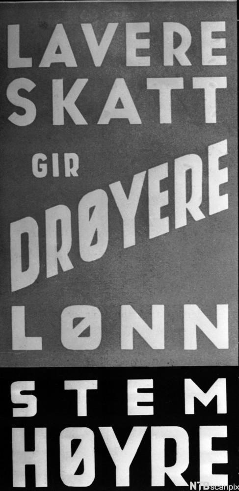 Bilde av en valgplakat for Høyre ved stortingsvalget i 1949.