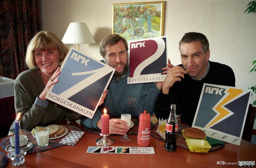 NRKs tre radiokanalprofiler i 1993. Bilde.