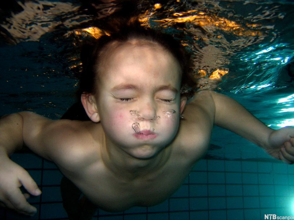 Jente holder pusten under vann. Bilde.