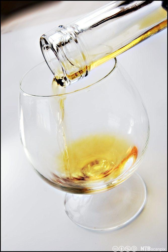 En som heller konjakk fra en flaske og i et glass. Foto.