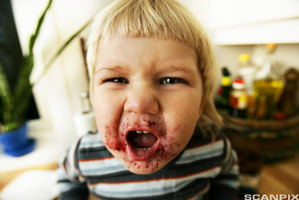 Barn med blåbærsyltetøy rundt munnen. Foto.