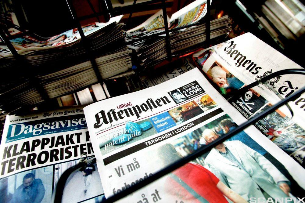 Bilde av bunker med aviser som skal sendes i retur.
