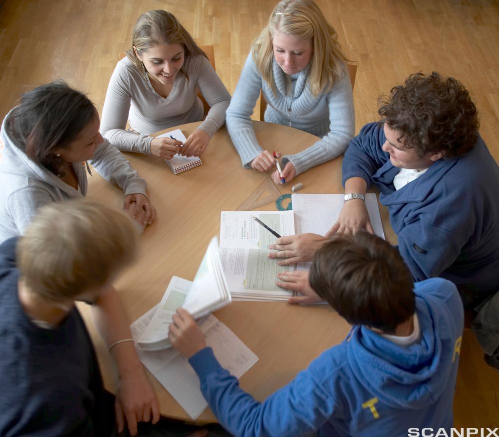 Gruppe med ungdommar sit rundt eit bord og jobbar. Foto.