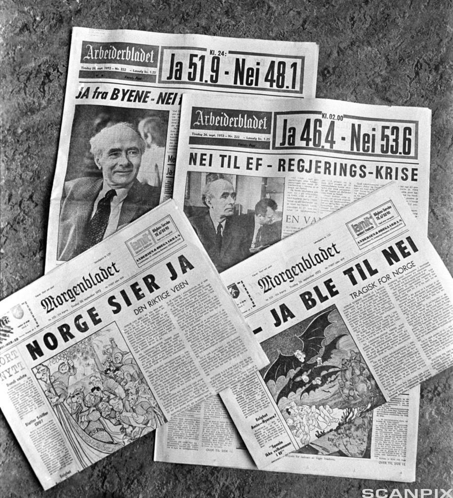 Avisforsider fra 1972 om folkeavstemmingen for eller mot norsk medlemskap i EU. Foto.
