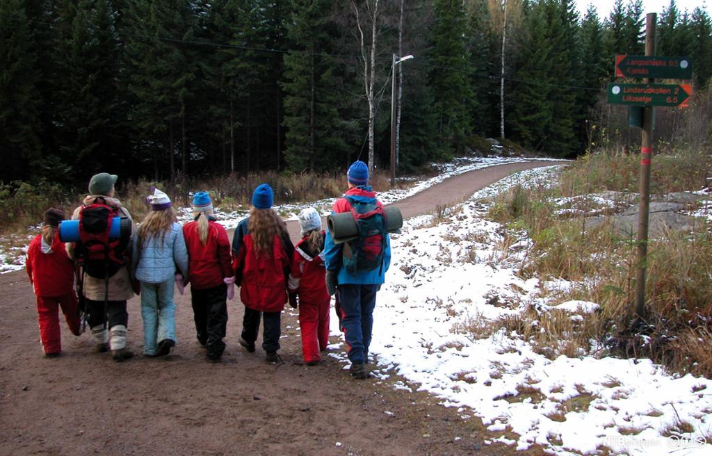 Barn og voksne på tur i naturen. Foto.