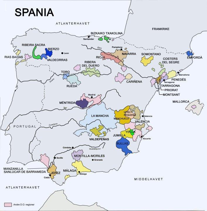 Kart over vinområdene i Spania.foto.