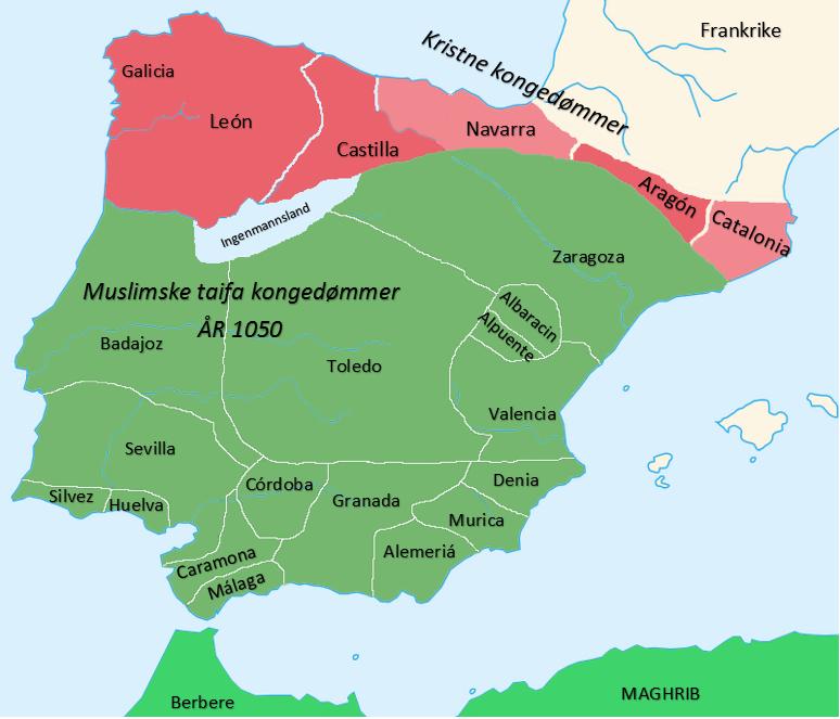 Kart over Al-Andalus under Taifa-kongedømmene omkring 1050