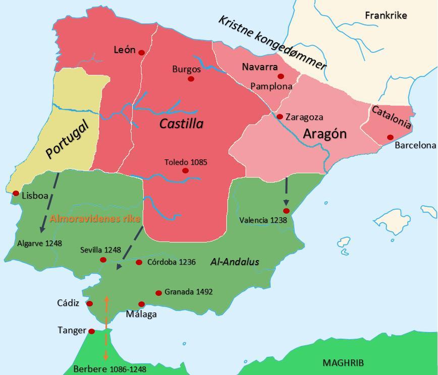Historisk kart over den iberiske halvøy ca 1200