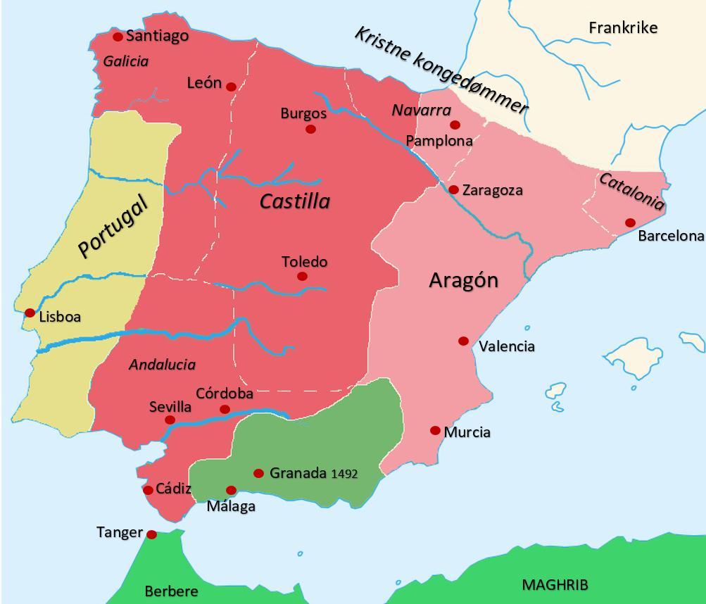 Historisk kart over den iberiske halvøy ca 1400