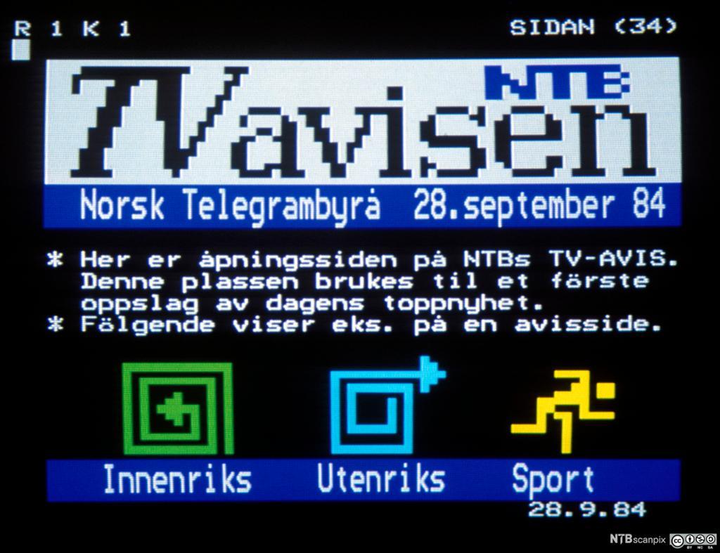 Bilde av en TV-skjerm som viser tekst-tv. Foto.