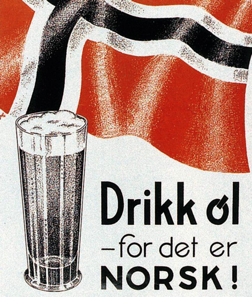 Reklameplakat for øl fra 1930-årene. Denne typen reklame har vært forbudt siden 1. april 1975. Bilde.