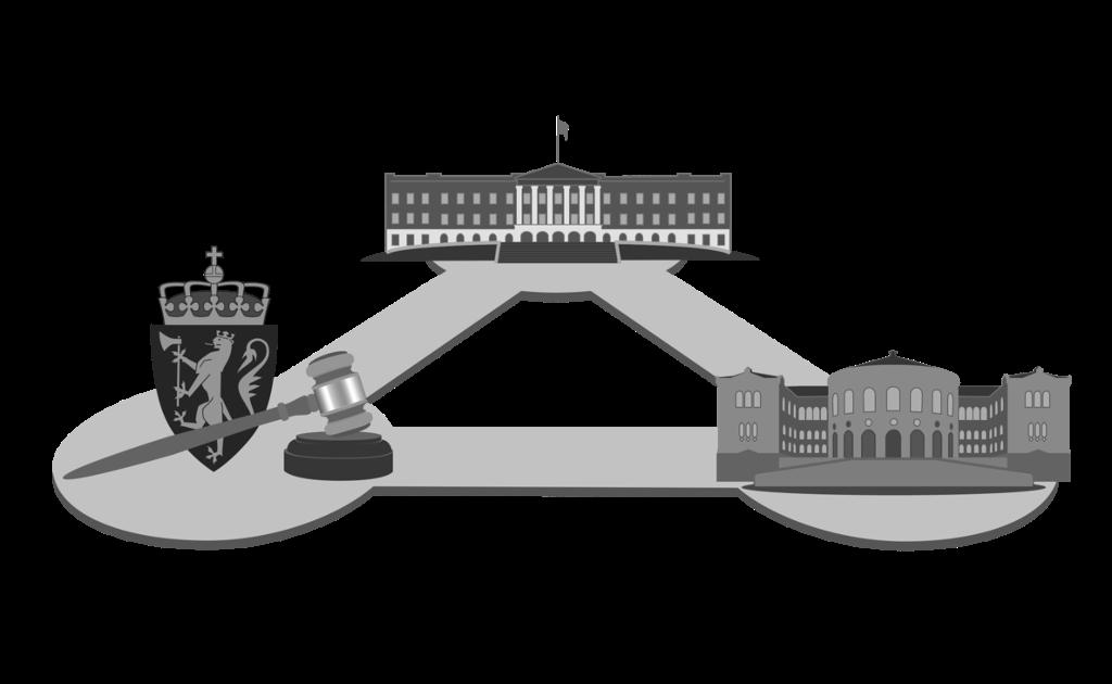 Kongen, Stortinget og domstolene. Illustrasjon.