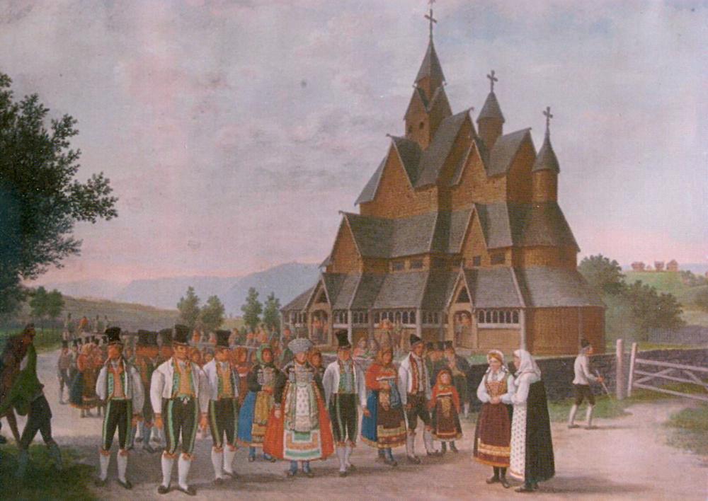 Heddal Stavkirke, Notodden. Maleri 1828.