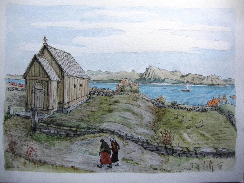 Stavkirka på Rødøya slik vi kan se for oss at kirken og omvgivelsene så ut i middelalderen. Maleri.