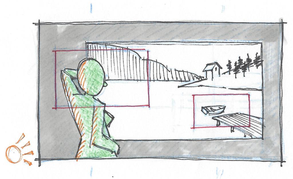 Eksempel på storyboardrute. Tegning.