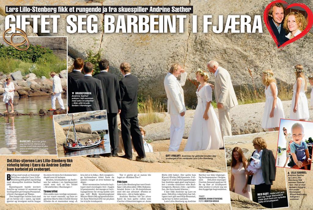 Ukebladoppslag med bilder av deltakere i et bryllup, tittel og tekst. Faksimile.