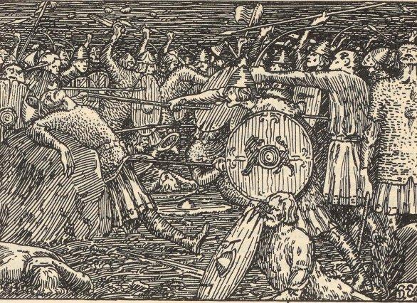 Illustrasjon av slaget på Stiklestad for Snorres kongesagaer 1899-utgaver. Illustrasjon.