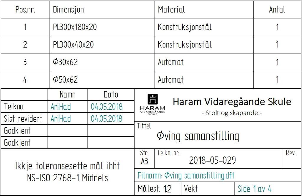 Bilde. Tekst som viser stykklisten i tegningsdokumentasjonen.