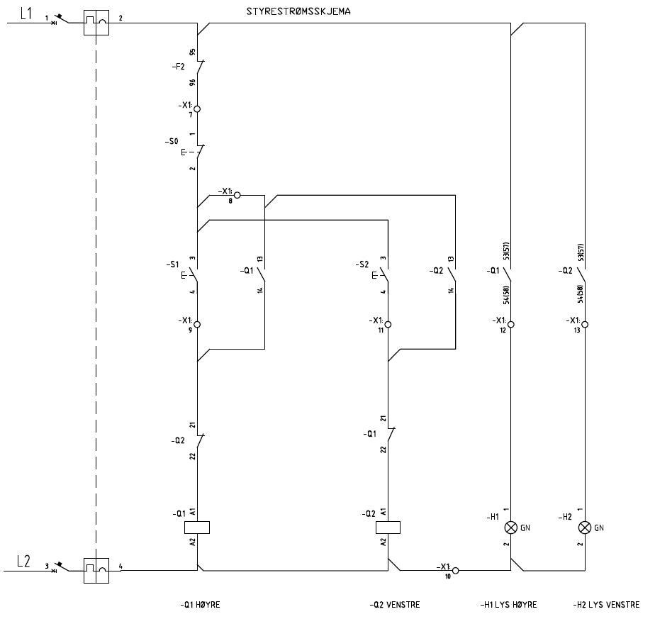 Styrestrømskjema som viser hvordan styringen er koblet sammen. Foto.