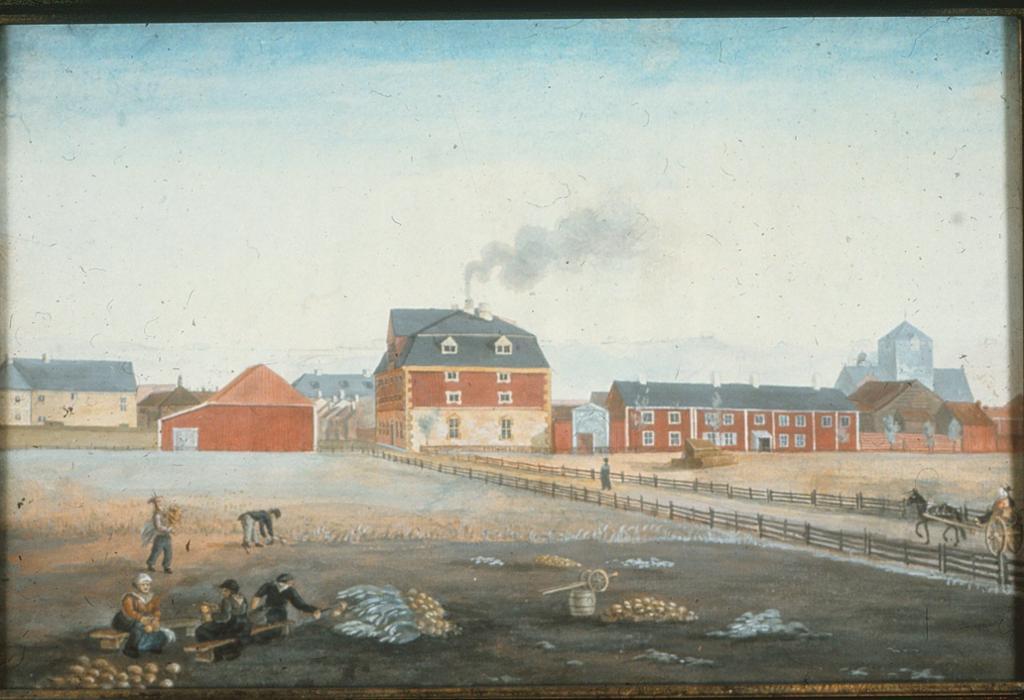 Sukkerhuset på Kalvskinnet i Trondheim, ca 1820. Maleri.