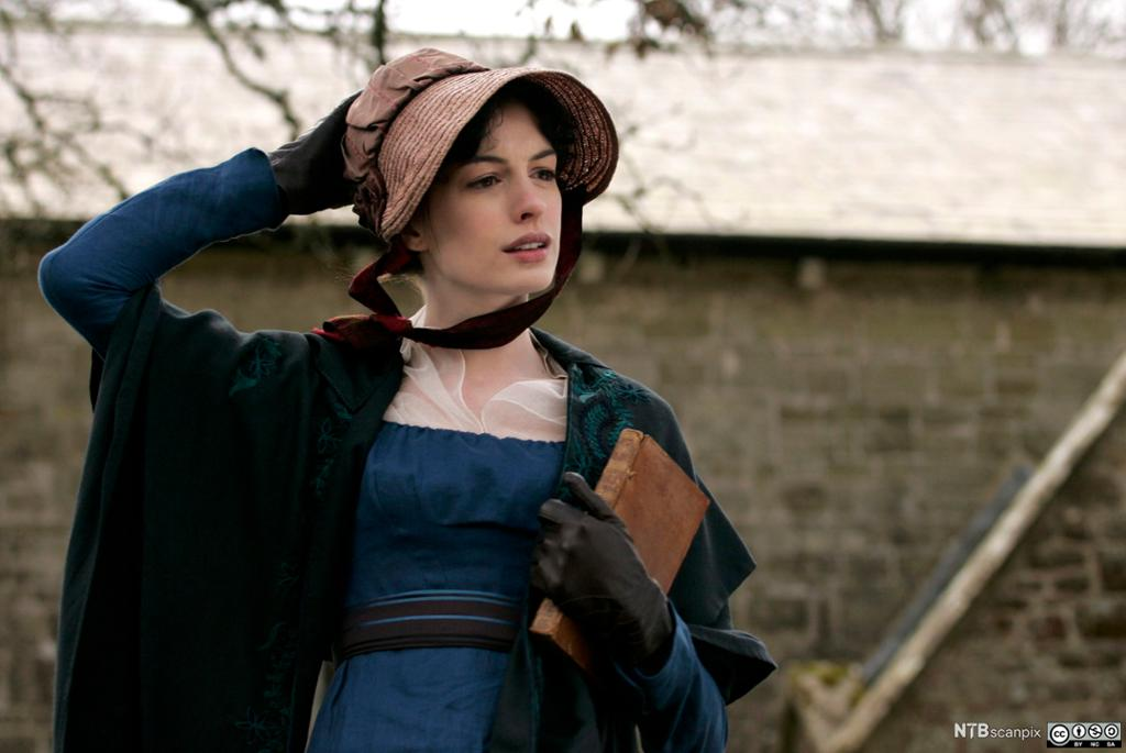 "Anne Hathaway as Jane Austen in the movie ""Becoming Jane""."