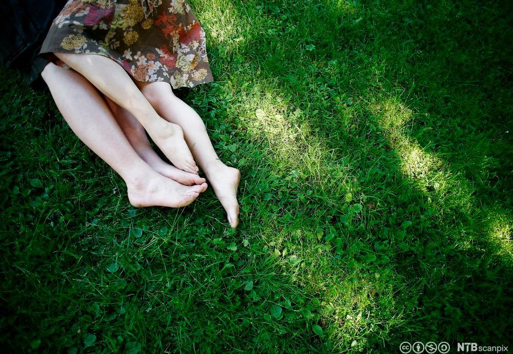 Forelsket par ligger på gresset. Foto.